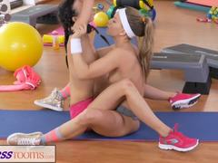 Workout, Vagina, Oral, High definition, Lesbian, Brunette, Lick, Sex, Blonde, Masturbation, Small tits, Fitness, Gym, Caucasian, Tits, Athletic, Skinny
