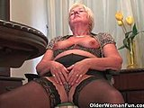 Grandmother, Shaved pussy, Stockings, Natural tits, Granny, Shaved, Chubby, Toys, Cunt, Hairless, Masturbation, High definition, Solo, Old, Dildo, Ass, Tits, Boobs, Fat