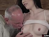 Grandfather, Blowjob, Small tits, Young, Fucking, Old, High definition, Tits, Brunette, Lick